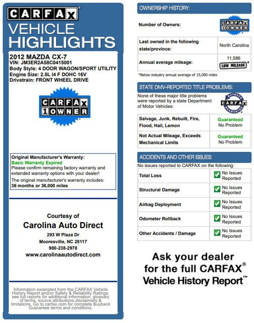 2012 Mazda CX-7 i SV FWD - LEATHER INTERIOR - ONE OWNER! Mooresville , NC 3