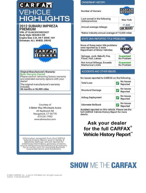 2012 Subaru Impreza 2.0i Premium Naugatuck, Connecticut 1