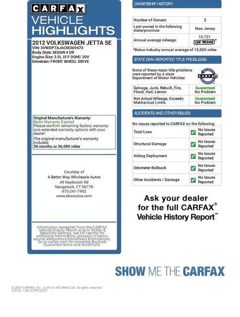 2012 Volkswagen Jetta SE w/Convenience PZEV Naugatuck, Connecticut 1