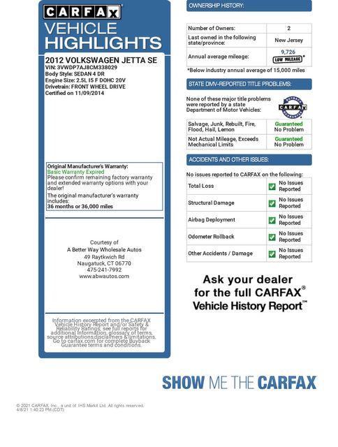 2012 Volkswagen Jetta SE w/Convenience & Sunroof PZEV Naugatuck, Connecticut 1