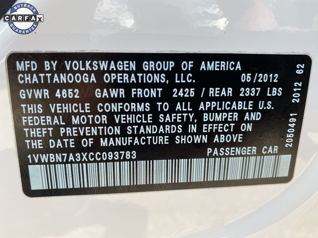 2012 Volkswagen Passat TDI SE w/Sunroof Madison, NC 40
