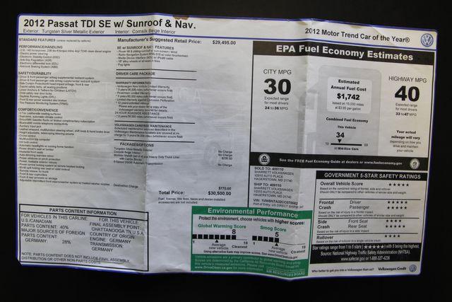2012 Volkswagen Passat TDI SE w/Sunroof & Nav Richmond, Virginia 26