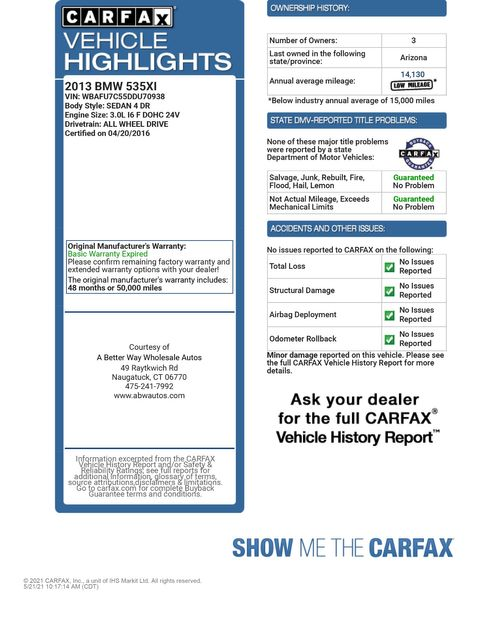 2013 BMW 535i xDrive Naugatuck, Connecticut 1