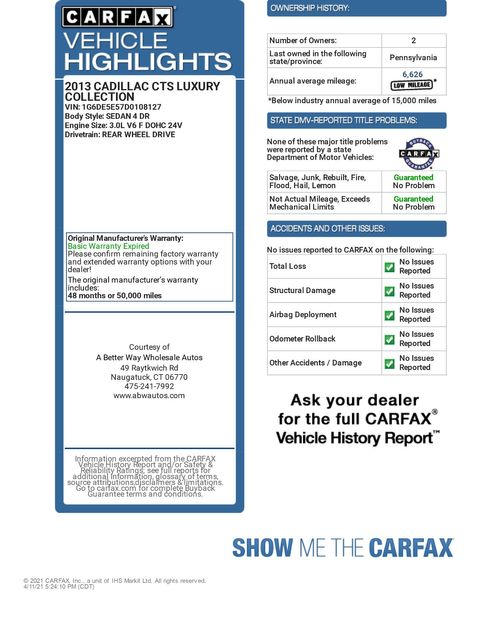 2013 Cadillac CTS Sedan Luxury Naugatuck, Connecticut 1