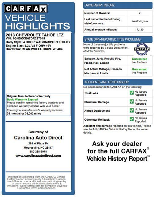 2013 Chevrolet Tahoe LTZ 4X4 - NAV - REAR DVD - SUNROOF - POWER STEPS! Mooresville , NC 3