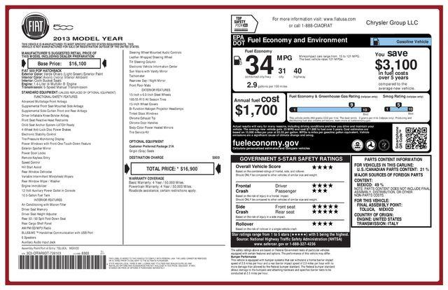 2013 Fiat 500 POP LOW MILES 3 MONTH/3 MILE NATIONAL POWERTRAIN WARRANTY Mesa, Arizona 19
