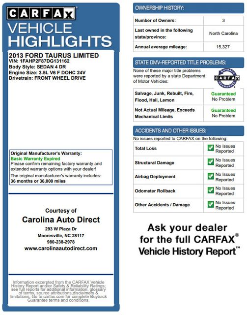 2013 Ford Taurus Limited FWD - 301A PKG - HEATED/COOLED LEATHER! Mooresville , NC 3