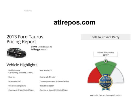2013 Ford Taurus Limited in Salt Lake City, UT