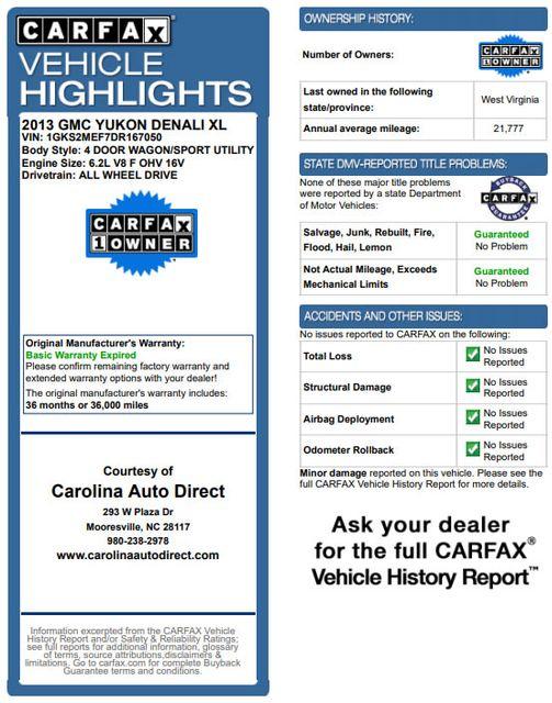 2013 GMC Yukon XL Denali AWD - NAVIGATION - DUAL DVDS - SUNROOF! Mooresville , NC 3