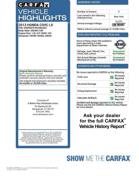 2013 Honda Civic LX Naugatuck, Connecticut 1