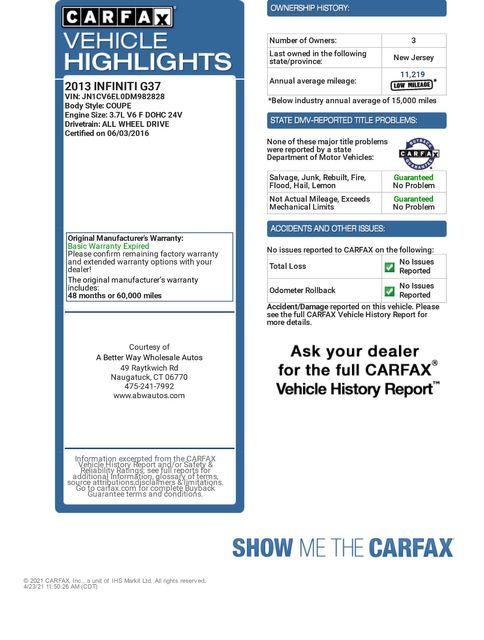 2013 Infiniti G37 Coupe x AWD Naugatuck, Connecticut 1