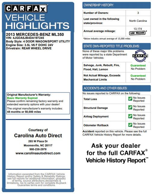 2013 Mercedes-Benz ML 350 RWD - PREMIUM 1 PKG - NAV! Mooresville , NC 3
