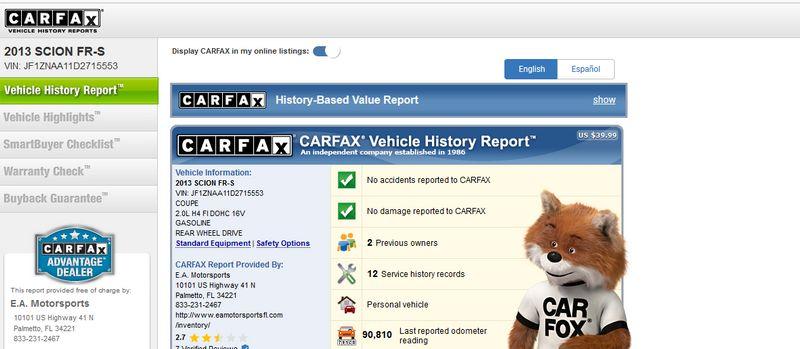 2013 Scion FR-S FRS CLEAN CARFAX  | Palmetto, FL | EA Motorsports in Palmetto, FL