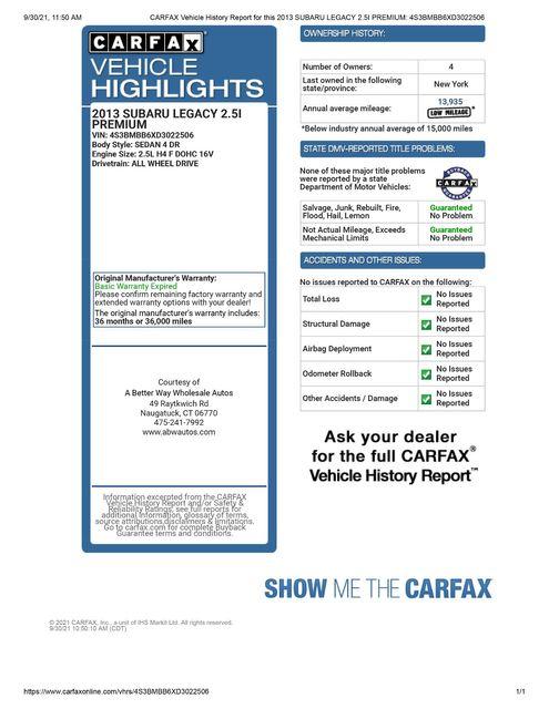 2013 Subaru Legacy 2.5i Premium Naugatuck, Connecticut 1