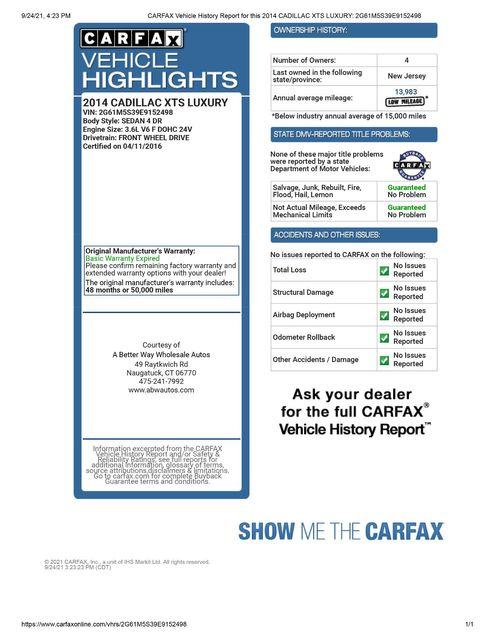 2014 Cadillac XTS Luxury Naugatuck, Connecticut 1
