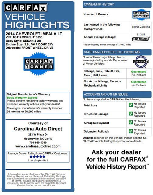 2014 Chevrolet Impala LT/2LT - PREMIUM SEATING & ADVANCED SAFETY PKGS Mooresville , NC 3