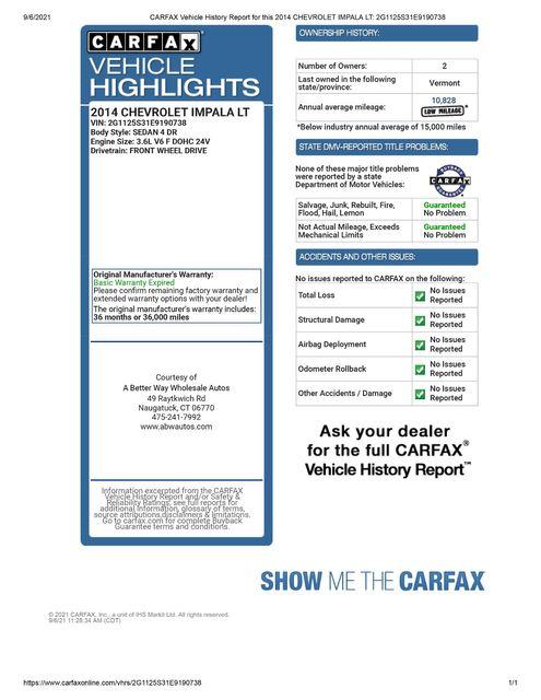 2014 Chevrolet Impala LT Naugatuck, Connecticut 1