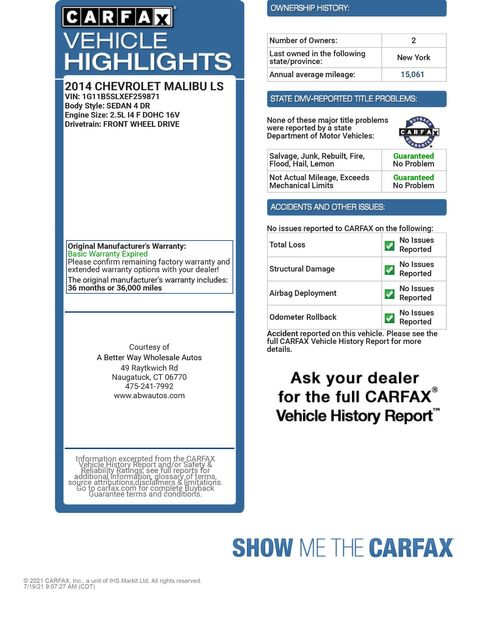 2014 Chevrolet Malibu LS Naugatuck, Connecticut 1