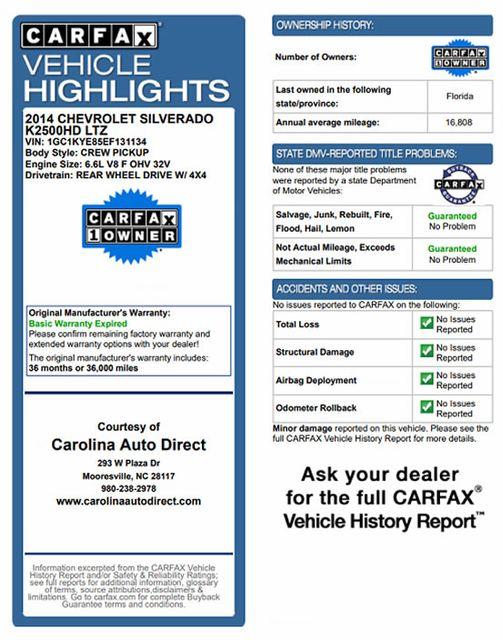 2014 Chevrolet Silverado 2500HD LTZ PLUS Crew Cab 4x4 Z71 - NAVIGATION! Mooresville , NC 3