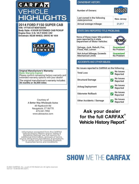 2014 Ford F-150 XL 4WD w/HD Payload Pkg Naugatuck, Connecticut 1
