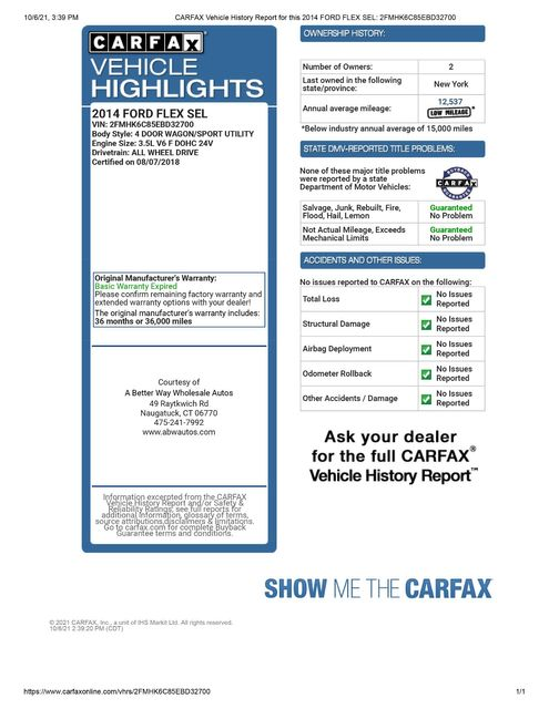 2014 Ford Flex SEL Naugatuck, Connecticut 1