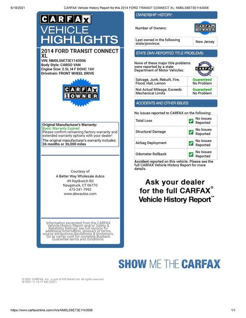 2014 Ford Transit Connect XL Naugatuck, Connecticut 1