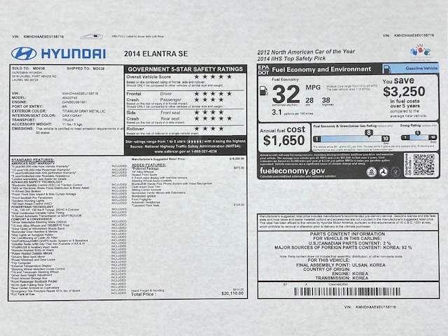 2014 Hyundai Elantra SE Preferred Kensington, Maryland 87
