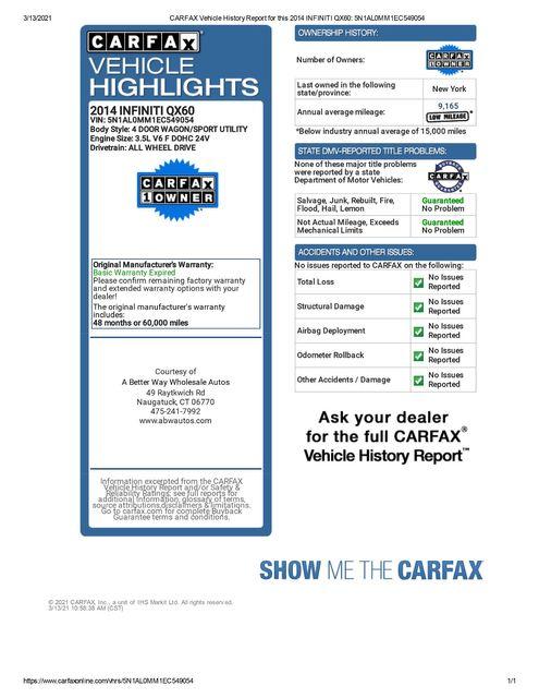 2014 Infiniti QX60 AWD Naugatuck, Connecticut 1