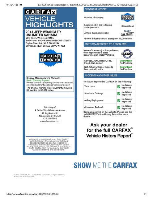 2014 Jeep Wrangler Unlimited  Sahara 4WD Naugatuck, Connecticut 1