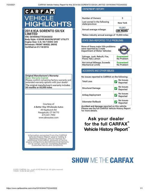 2014 Kia Sorento SX Limited Naugatuck, Connecticut 1