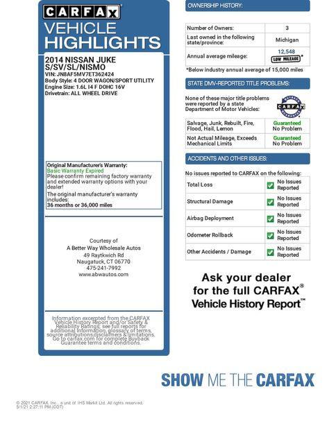 2014 Nissan JUKE S AWD Naugatuck, Connecticut 1