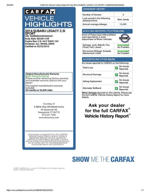 2014 Subaru Legacy 2.5i Sport Naugatuck, Connecticut 1