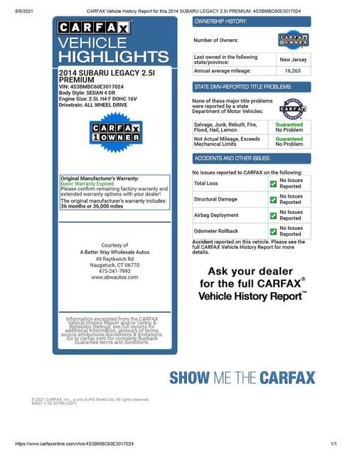 2014 Subaru Legacy 2.5i Premium AWD Naugatuck, Connecticut 1