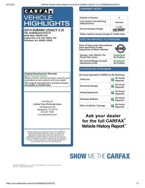 2014 Subaru Legacy 2.5i AWD Naugatuck, Connecticut 1
