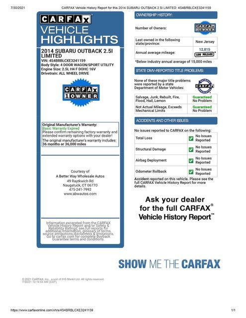 2014 Subaru Outback 2.5i Limited AWD Naugatuck, Connecticut 1