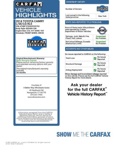 2014 Toyota Camry XLE Naugatuck, Connecticut 1