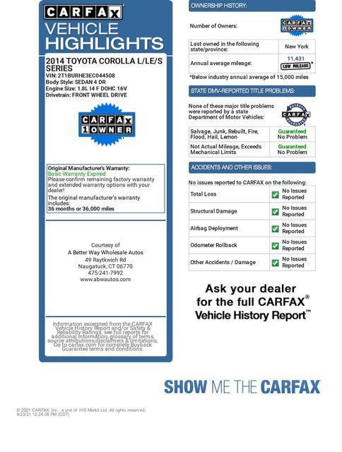 2014 Toyota Corolla S Premium Naugatuck, Connecticut 1