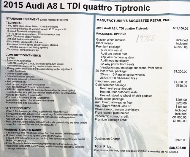2015 Audi A8  L TDI Quattro in Alexandria VA