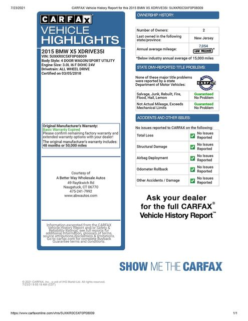 2015 BMW X5 xDrive35i AWD Naugatuck, Connecticut 1