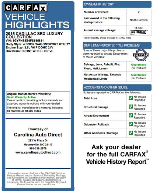 2015 Cadillac SRX Luxury Collection FWD - DRIVER AWARENESS PKG! Mooresville , NC 3