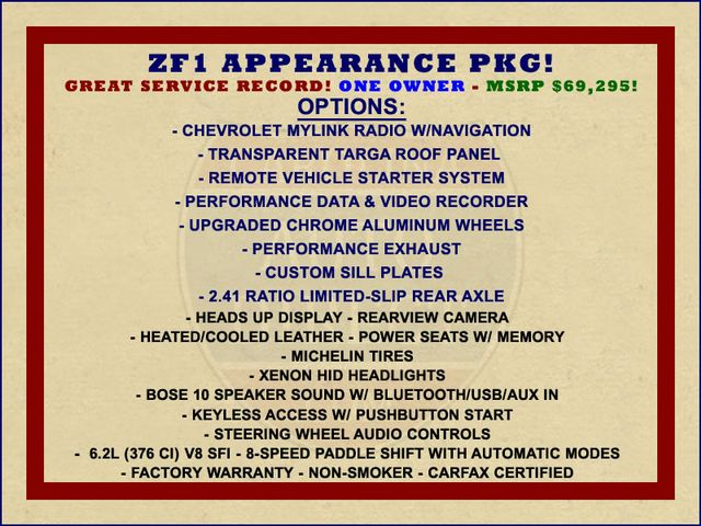 2015 Chevrolet Corvette 2LT - ZF1 APPEARANCE PKG - NAV - PERFORMANCE DATA! Mooresville , NC 1