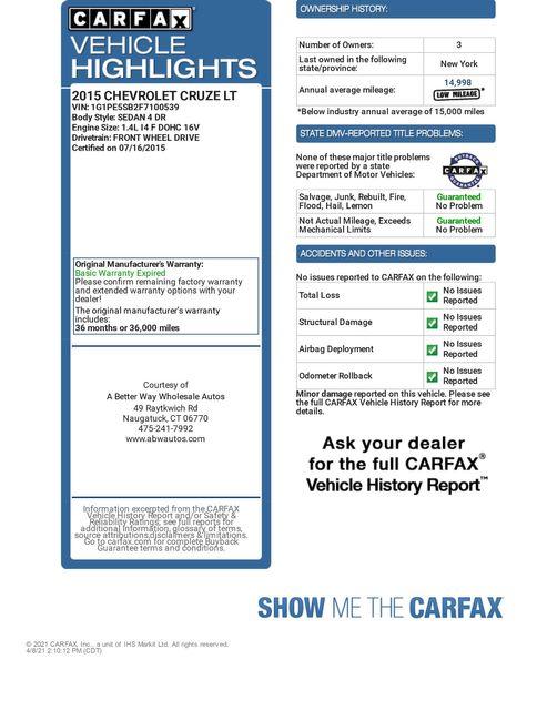 2015 Chevrolet Cruze LT Naugatuck, Connecticut 1
