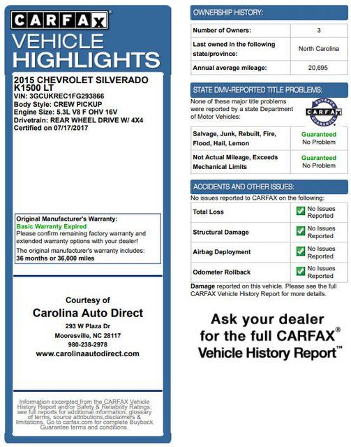 2015 Chevrolet Silverado 1500 LT Crew Cab 4x4 Z71 - ALL STAR - BUCKET SEATS! Mooresville , NC 3