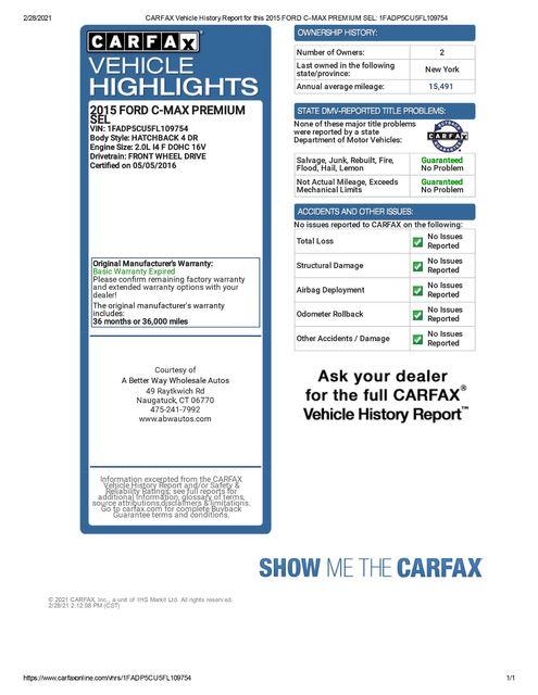 2015 Ford C-Max Energi SEL Naugatuck, Connecticut 1