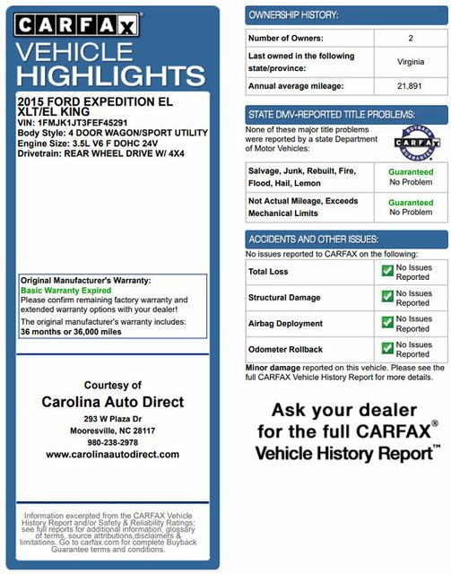2015 Ford Expedition EL XLT 4x4 - 202A LUXURY PKG - NAV - PWR FOLD 3RD ROW Mooresville , NC 3