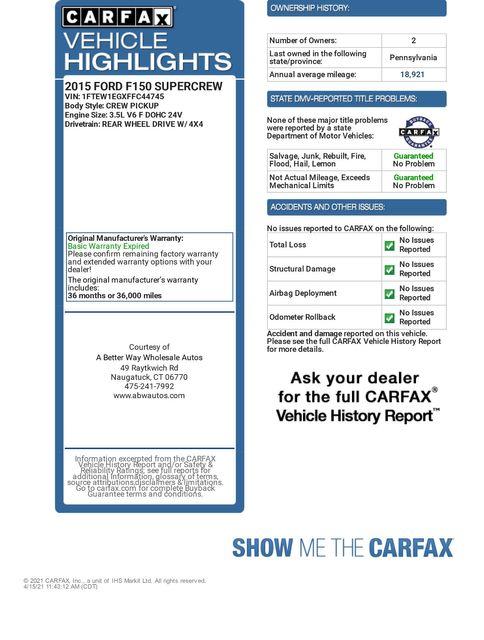 2015 Ford F-150 Platinum 4WD Naugatuck, Connecticut 1