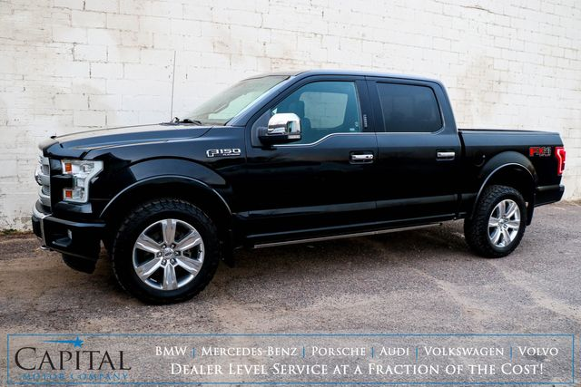 2015 Ford F-150 Platinum Crew Cab 4x4 with FX-4 Package, Nav, Backup Cam, Panoramic Roof & Heated Seats