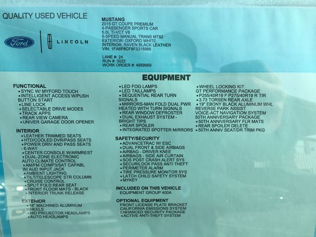 2015 Ford Mustang GT Premium 50th Anniversary Package in Gower Missouri, 64454