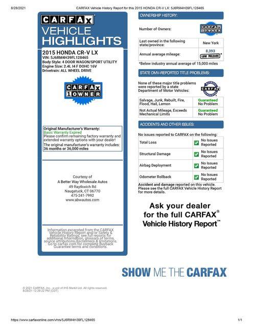 2015 Honda CR-V LX AWD Naugatuck, Connecticut 1