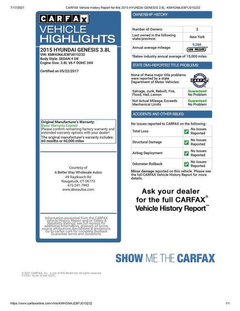 2015 Hyundai Genesis 3.8L AWD Naugatuck, Connecticut 1